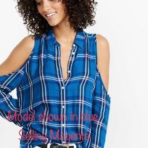 Express open shoulder long sleeve flannel